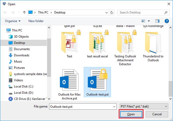 open Outlook file